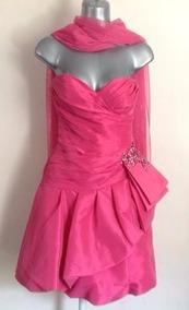 Vestido Fiesta Strapless Rosa Fiusha Juvenil Talla 4 O Xs