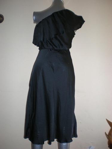 vestido fiesta un hombro t.m color negro