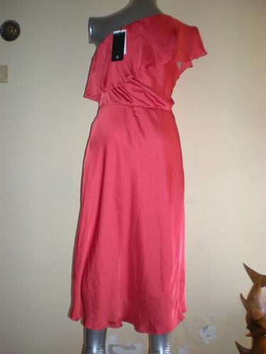 vestido fiesta un hombro t.xl color coral