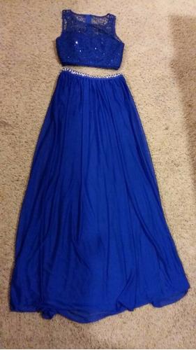 vestido fiesta y crop top de encaje bordado - talla xs