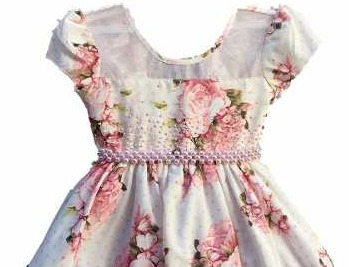 vestido floral festa glamour luxo 1 a 12 anos com tiara