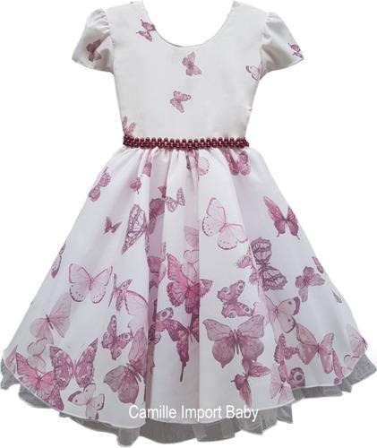 vestido floral festa infantil borboleta rosa 4 ao 12 anos