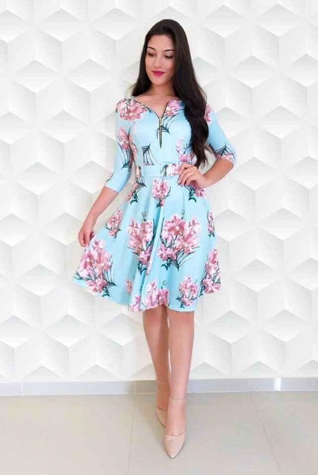 e6f845ff9e Vestido Floral Rodado Midi Feminino Moda Evangélica Social - R  119 ...