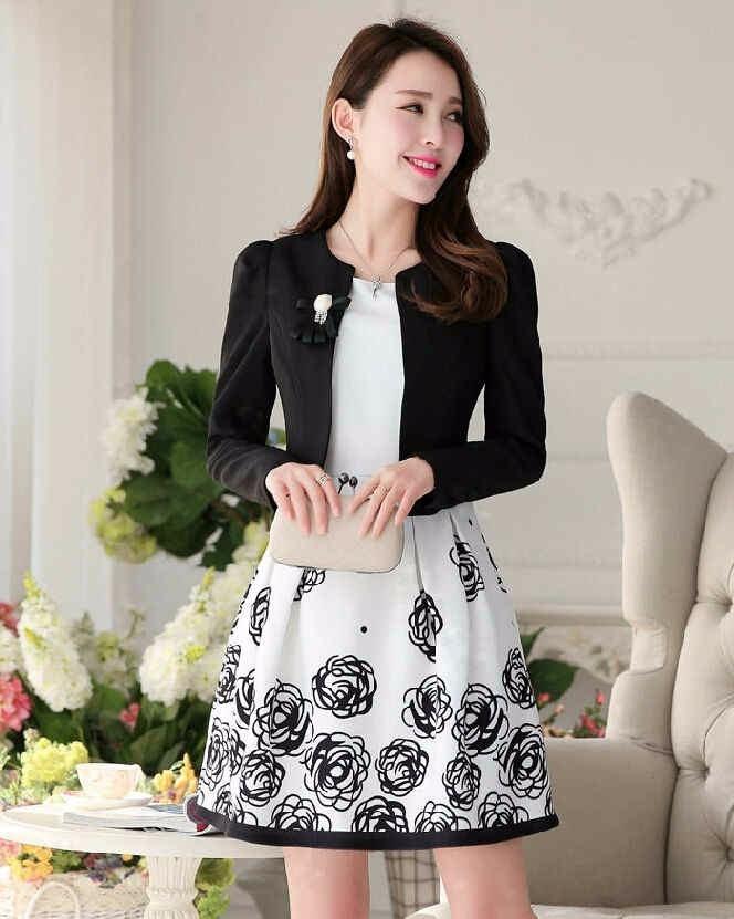 Vestido Floral Y Saco Con Accesorio