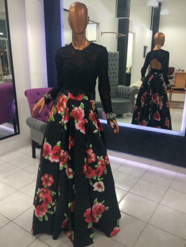 vestido floreado largo dos piezas blusa con mangas. Cargando zoom. bc6345ad9c16
