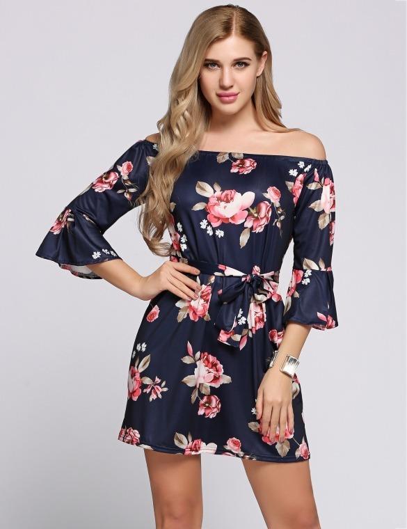 Vestido Floreado Off Shoulder De Moda Talla Extra Mujer
