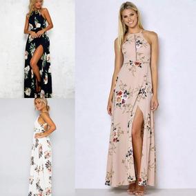 mirada detallada ad658 3ddd3 Vestido Flores Largo Elegante Playa Fiesta Coctel