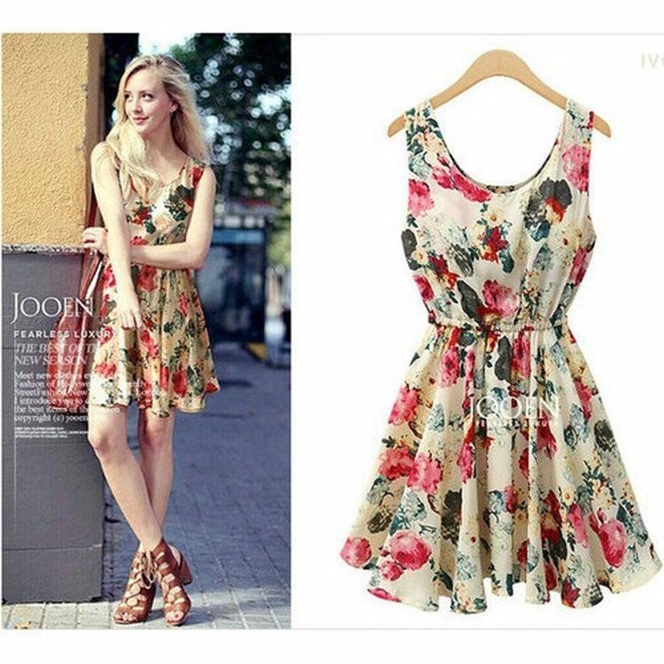 Vestido Florido Com Elástico Na Cintura (tecido Tp Seda) - R  69 b52b5a96b15