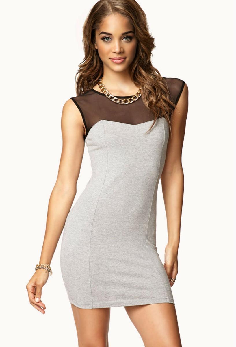 Vestido Forever 21 Gris Con Negro Xae16 - $ 35.900 en