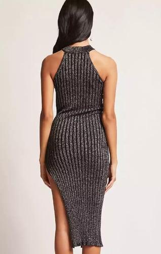 vestido forever 21 ribbed metallic knit dress  showroom