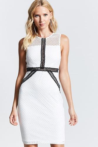 vestido forever 21 whiteblack-sheer-mesh-sheath-dress