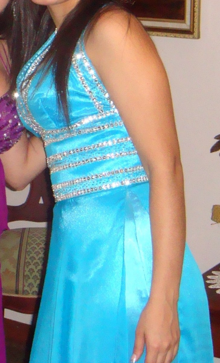 8d8c07109 Vestido Formal Azul Turquesa Largo Para Boda O 15 Años - Bs. 80.000 ...