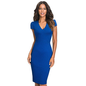 b6278bacb3 Vestido Formal Oficina Coctel Azul Rojo Burdeo Va 339
