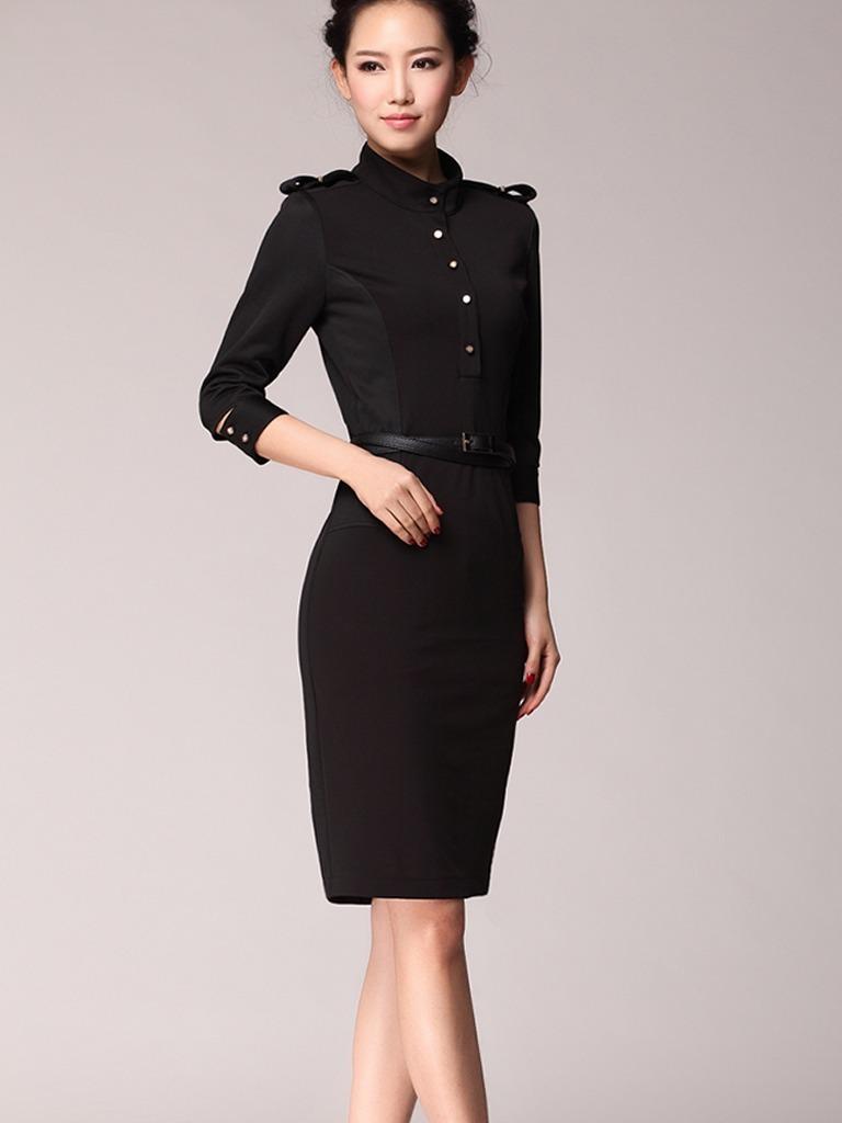 Vestido formal para fiesta u oficina botón decorativo cargando zoom jpg  768x1024 Vestidos formales para oficina e78b28783143