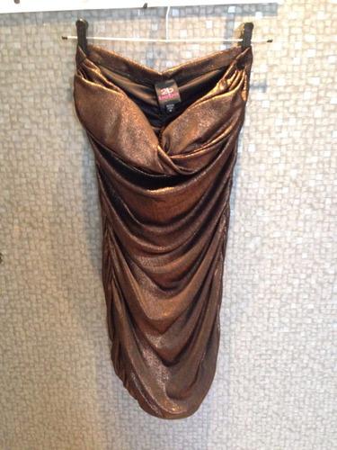 vestido franzido de lurex bronze