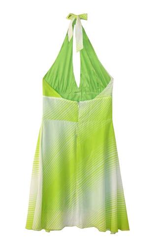vestido frente única, ziper atrás. verde branco com listras.