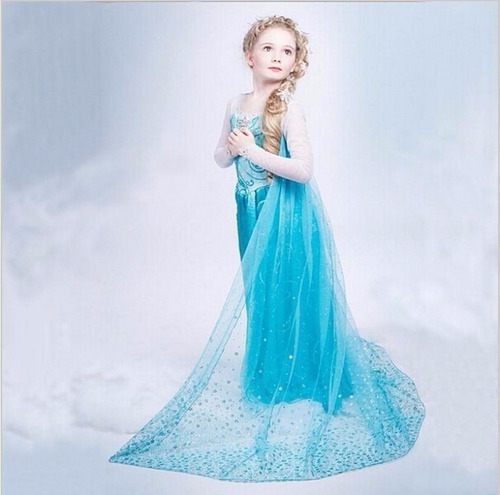 vestido frozen fantasia elsa infantil - vestido lindo frozen