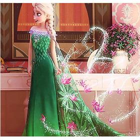 Vestido Frozen Verde/renda - Pronta Entrega