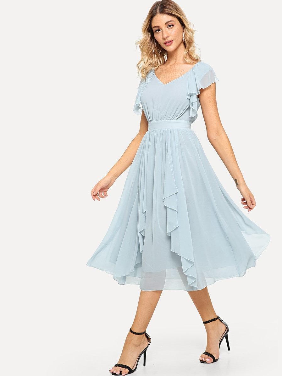 59981d629 vestido fruncido sólido de cintura ancha. Cargando zoom.