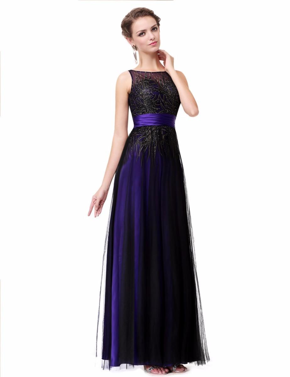 Vestido de noche negro y azul