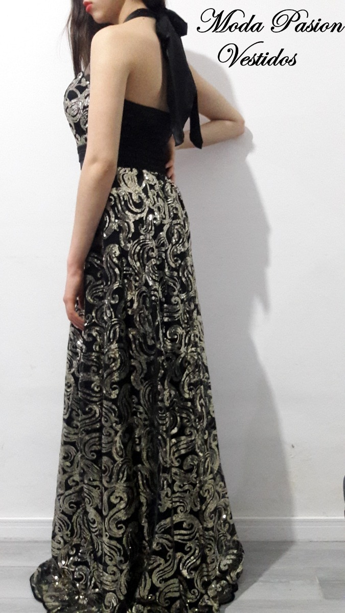 62d4d6c8b vestido gala noche lentejuelas cuello halter moda pasion. Cargando zoom.