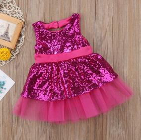 Vestido Gala Rosa Fiusha Lentejuelas Moda Asiatica
