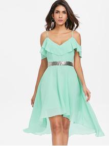 Vestidos De Gasa Casuales Vestidos Corto Verde Claro En