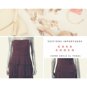Vestido Gasa Color Chocolate. Importado Usa