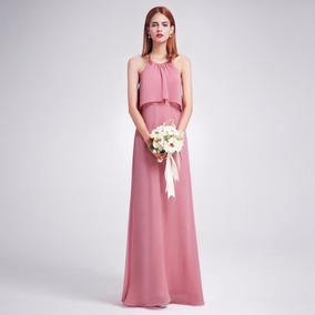 Vestido Gasa Rosa Viejo Ideal Dia Fresco Liviano Moda Pasión