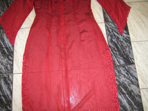 vestido gasa transparente, color vino, talla s/m