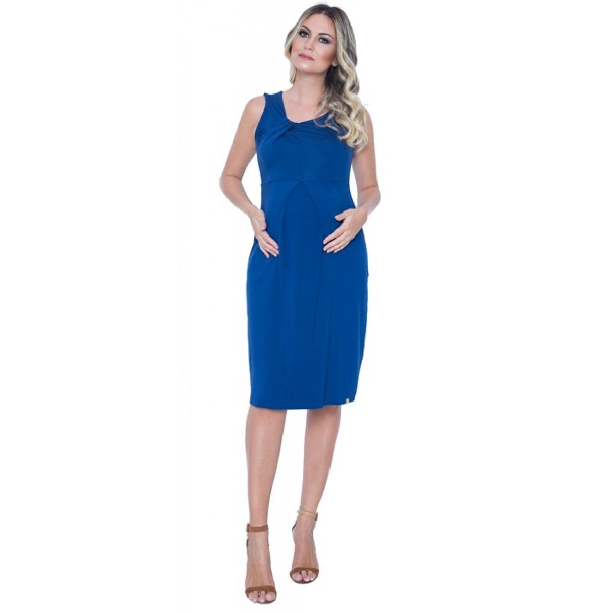 Vestido azul royal para gestante