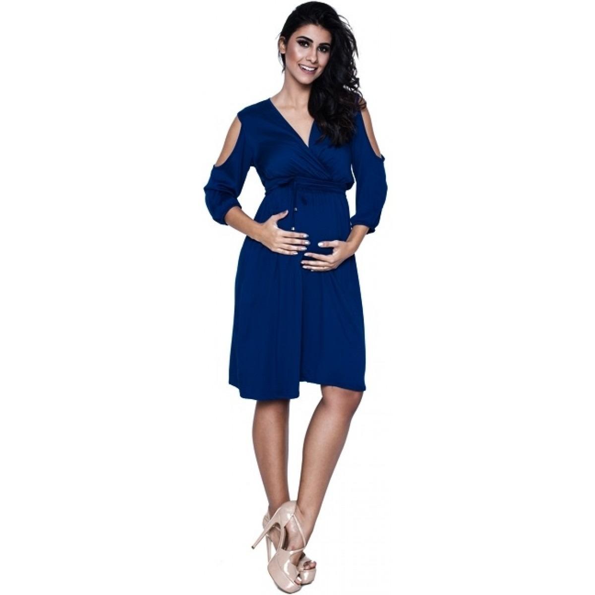 Vestido azul marinho gestante