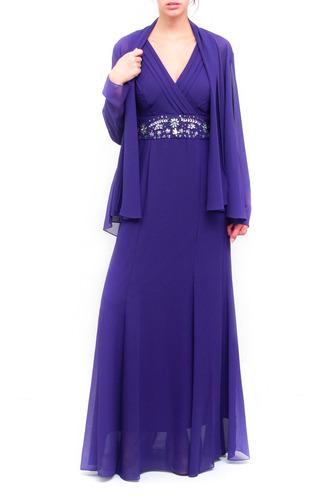 vestido gladys-t largo de fiesta con faja bordada y casaca