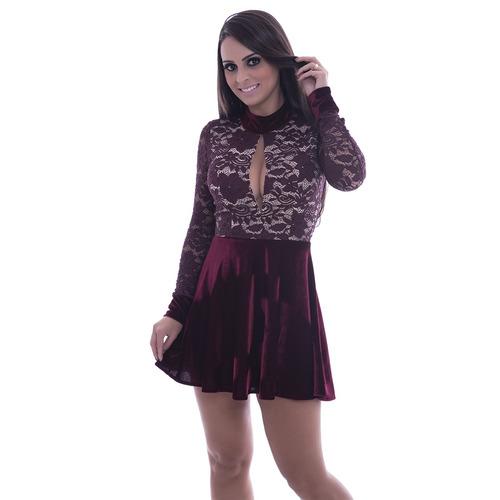 vestido godê de manga longa de renda com veludo  rosa fina