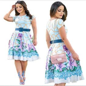 792e0e2ddc0 Vestido Gode Evangelico - Vestidos Femeninos Azul-claro Médio com o  Melhores Preços no Mercado Livre Brasil