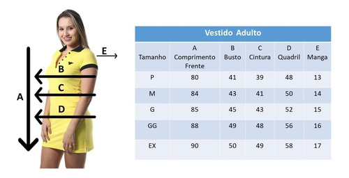 vestido gola polo adulto