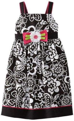 vestido gooldlad preto/ branco floral com aplique de flor 2t