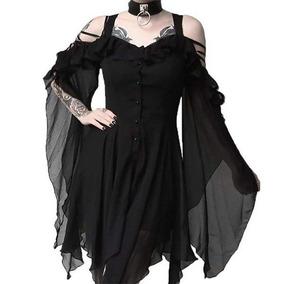 26944d47a Vestido Casual De Moda Gótica Con Color Sólido Para Mujeres