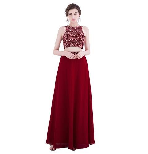 vestido graduación crop top falda azul burdeo talla 8 ep 303
