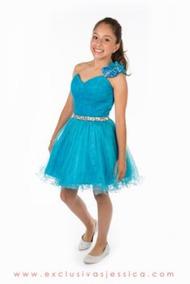 Vestidos Azul Turquesa Infantil Vestidos Corto Usado En
