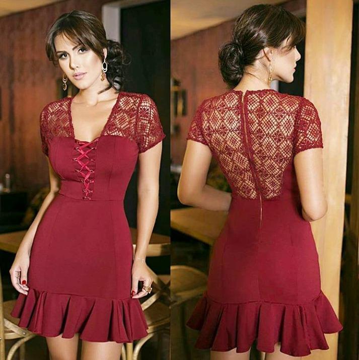 1eb207d67 Vestido Guipir Saia Babado - Sublini Moda Feminina - R$ 251,90 em ...