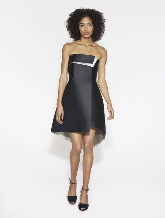 Vestido Heritage Negro Halston Satin M Talla Elegante Nv80mnw