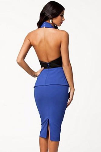 vestido halter azul sexy cinturon negro espalda desnuda moda