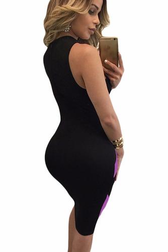 vestido halter moda sexy casual negro morado table dance