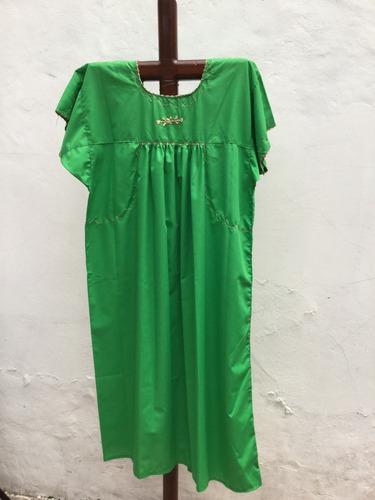 vestido hecho a mano bordado san antonino oaxaca verde