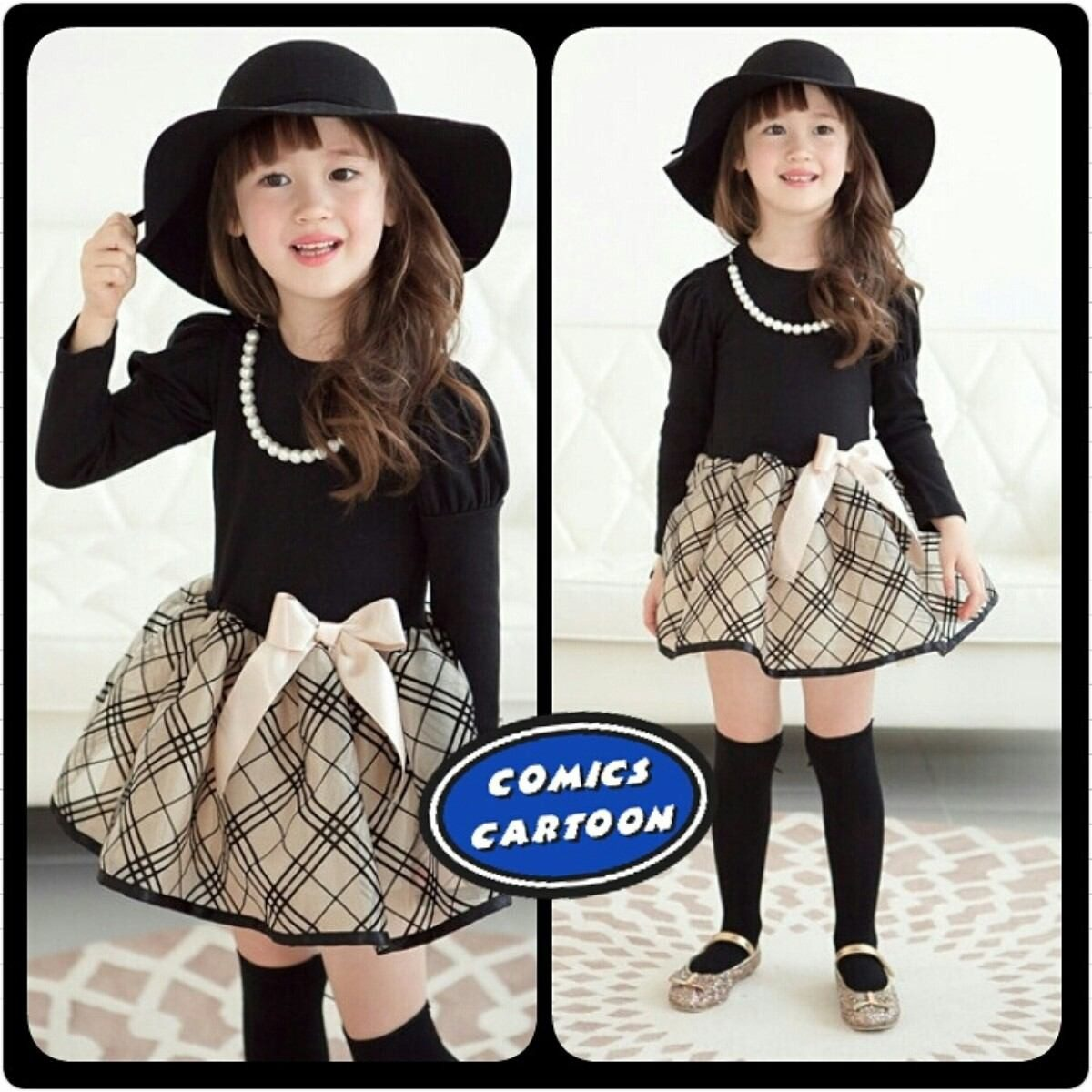 vestido hermoso casual niña moda + sombrero fedora + medias. Cargando zoom. 2e09e7ef912