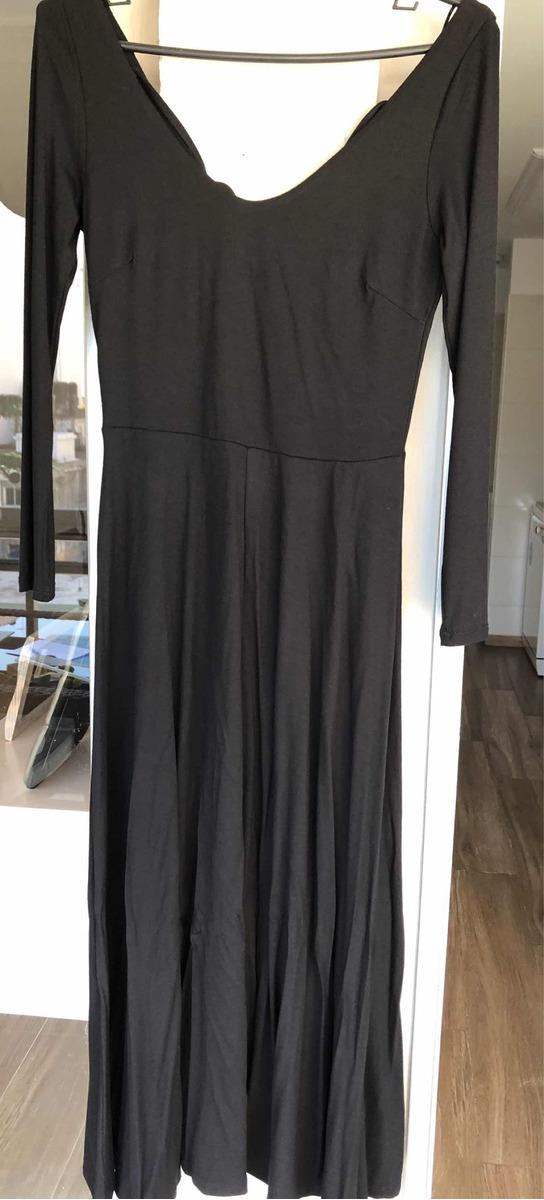 Vestido H&m Algodón Cuello Bote Con Tiras Cruzadas Negro