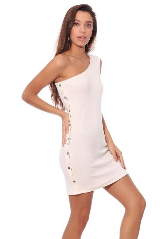 2f3d511ed Vestido Hombro Botones Laterales Mujer Ss19 -   590