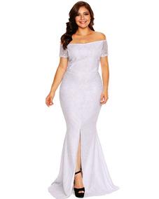 a4fc1d370 Vestido Hombro Encaje Mujeres Moda Más Tamaño Maxi Apagado