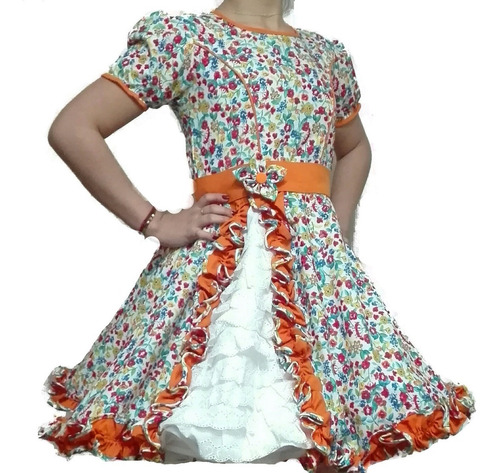 vestido huasa china niña talla 10-12-14 con falso de compete